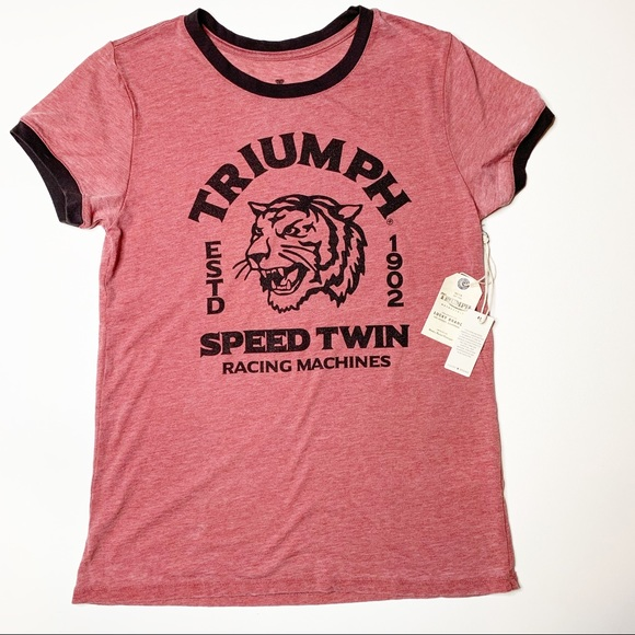 a119df50d Lucky Brand Tops | Triumph Tiger Ringer Tee Red | Poshmark